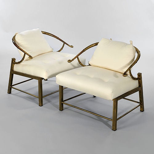 "Pair of Brass ""Faux Bamboo"" Chairs By Mastercraft image 6"