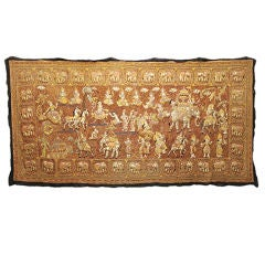 Early 20th C Thai Tapestry Depicting Elephants