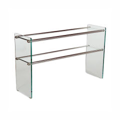 Glass and Polished Metal Console Table, Italy, 1970s