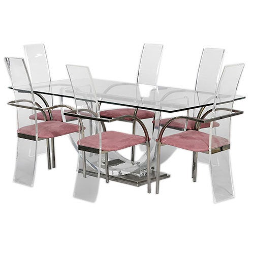 Lucite And Glass Dining Table And 6 Chairs By Maison