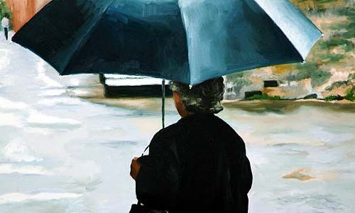Lady with umbrella by Christine Watson (oil on canvas) 1998    Christine Watson (b1958, Southsea, Hants, UK) is a graduate of the Winchester School of Art and the Slade School of Fine Art, University of London.     She has received a number