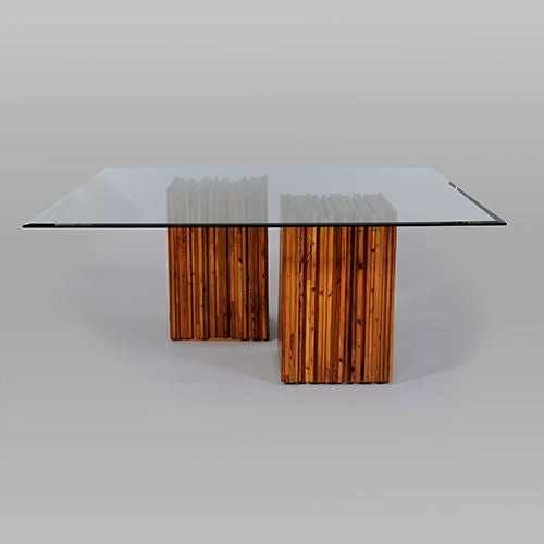Dining table with wood central supports attributed to for Dining table support