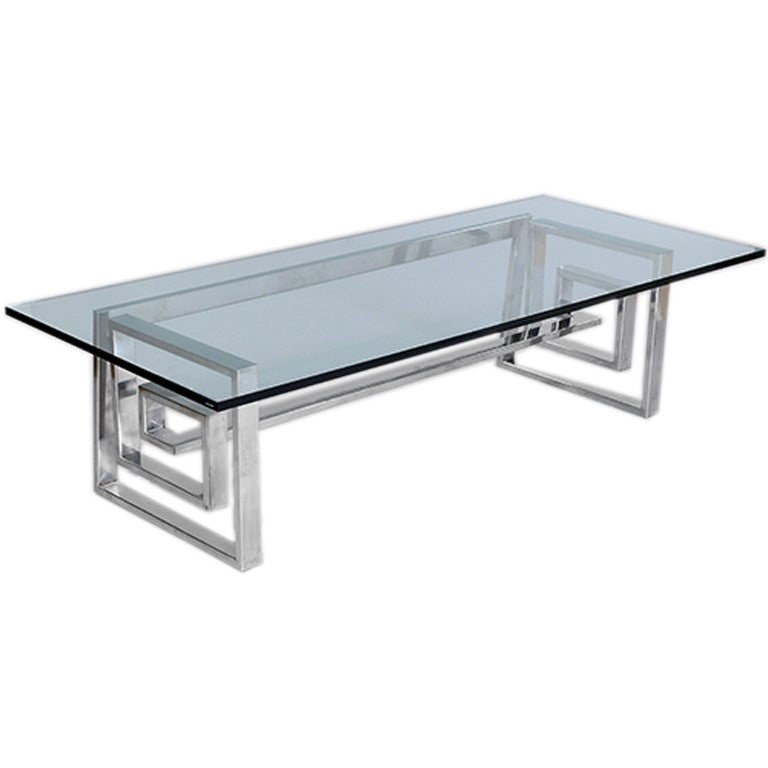 Steel and glass centre table at 1stdibs for Designer cocktail tables glass