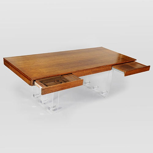 Rosewood and perspex executive desk at 1stdibs for Perspex desk
