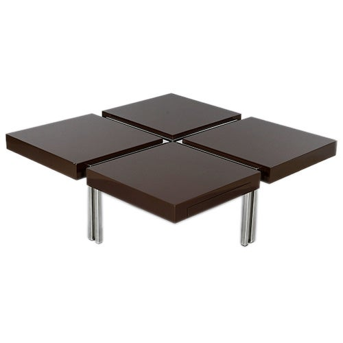 Acerbis lacquered occasional table with hidden drawers at for Occasional table with drawers