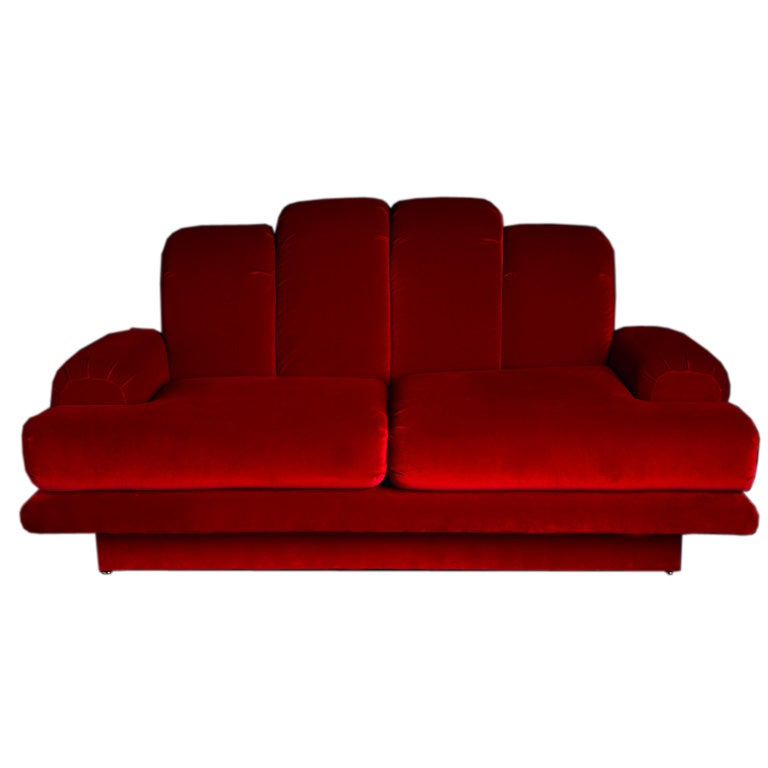 A Small Art Deco Style Sofa in Red Velvet 1970s 1