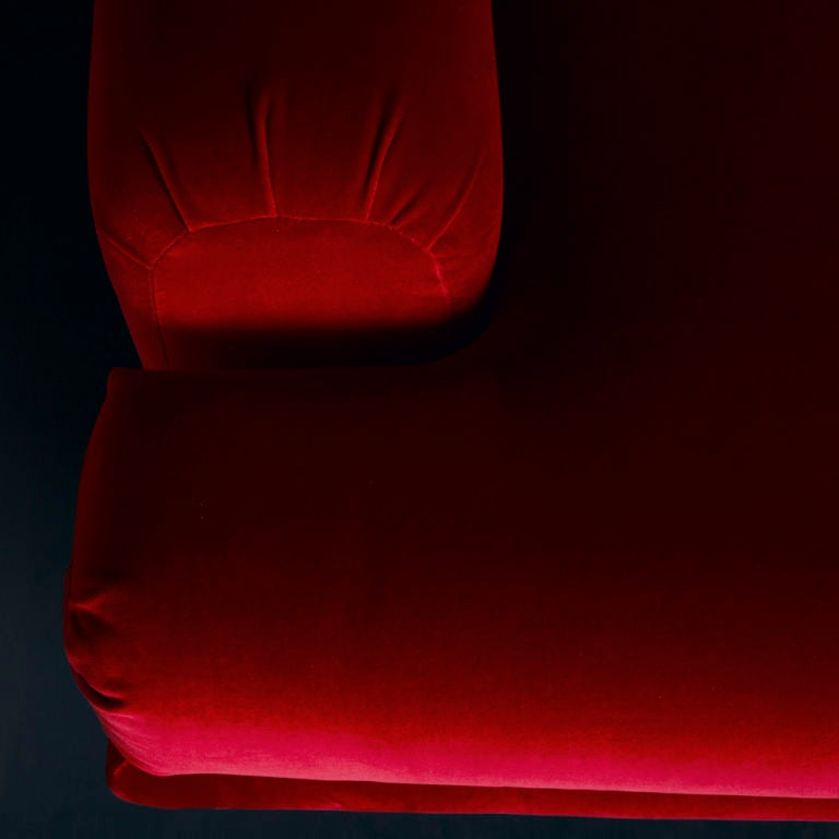 A Small Art Deco Style Sofa in Red Velvet 1970s 2