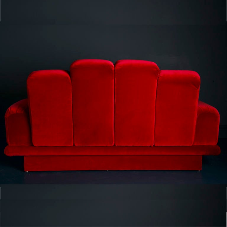A Small Art Deco Style Sofa in Red Velvet 1970s 5