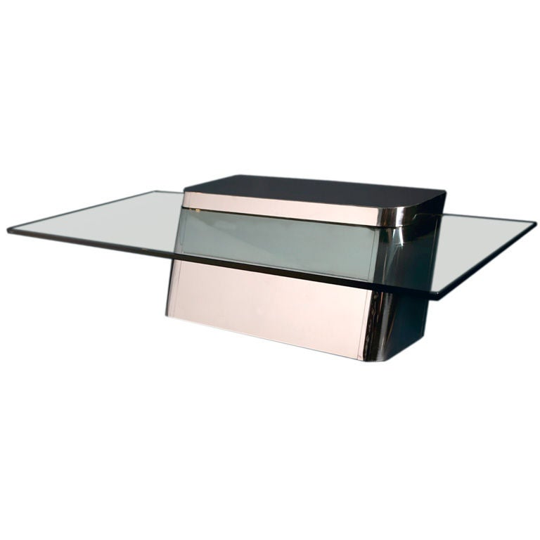 A Stainless Steel Cantilevered Coffee Table With Glass Top At 1stdibs