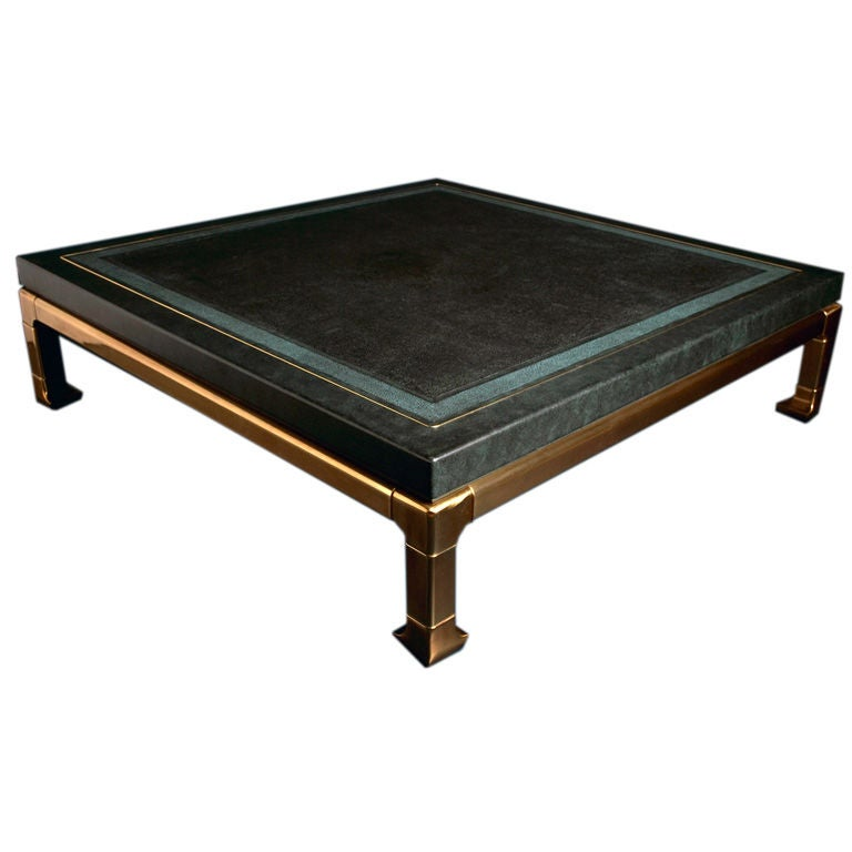 a faux shagreen coffee table designed by mastercraft at