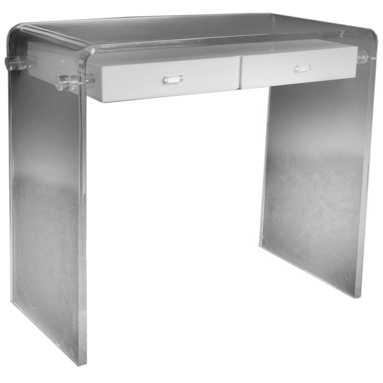 A Lucite Framed Waterfall Vanity Table At 1stdibs