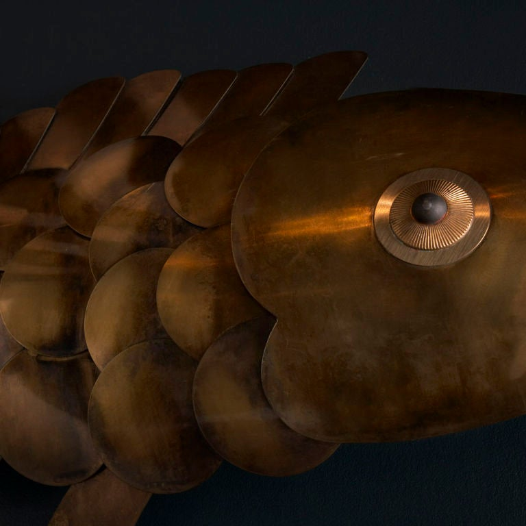 A Metal Wall Sculpture of a Carp Fish designed by Curtis Jere image 3
