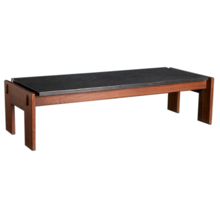 A 1950s Brazilian Teak Coffee Table With Riven Slate Top At 1stdibs