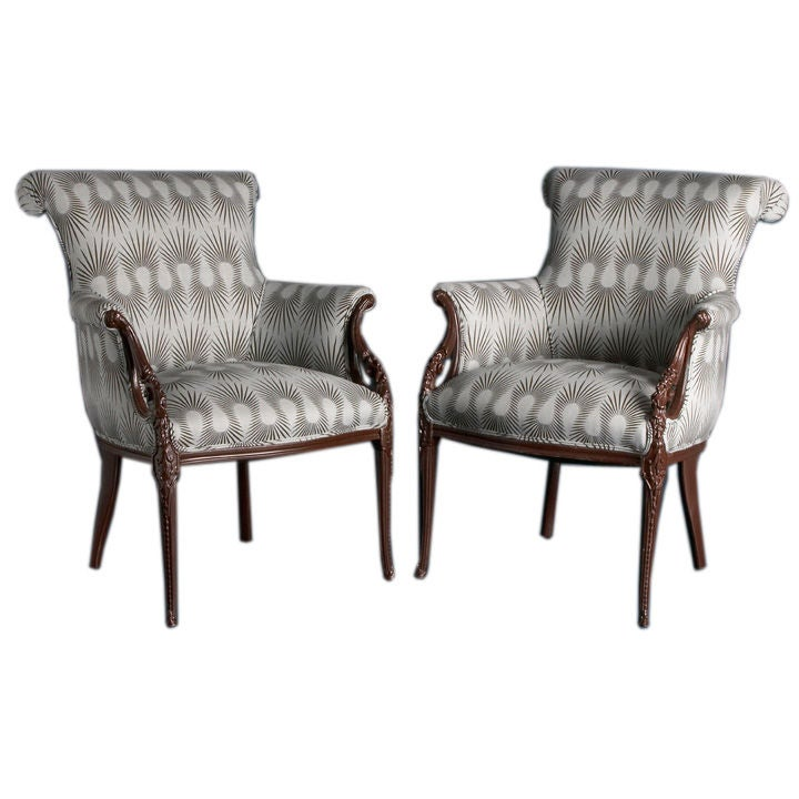 A Pair of Hollywood Glam Wing Chairs 1950s at 1stdibs