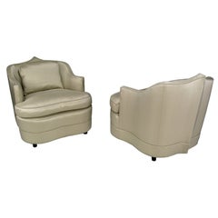 Pair Of Sculptural Club Chairs In Champagne Silk Upholstery