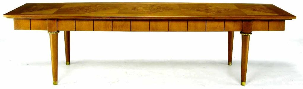 Oxford-Kent Long Walnut Coffee Table With Burled Parquetry Top 2