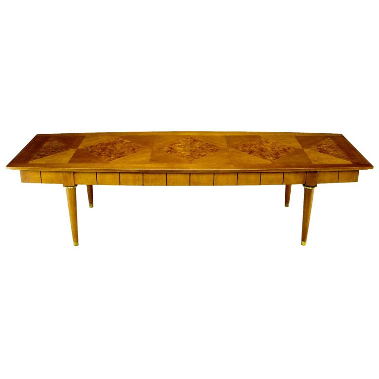Oxford-Kent Long Walnut Coffee Table With Burled Parquetry Top 1