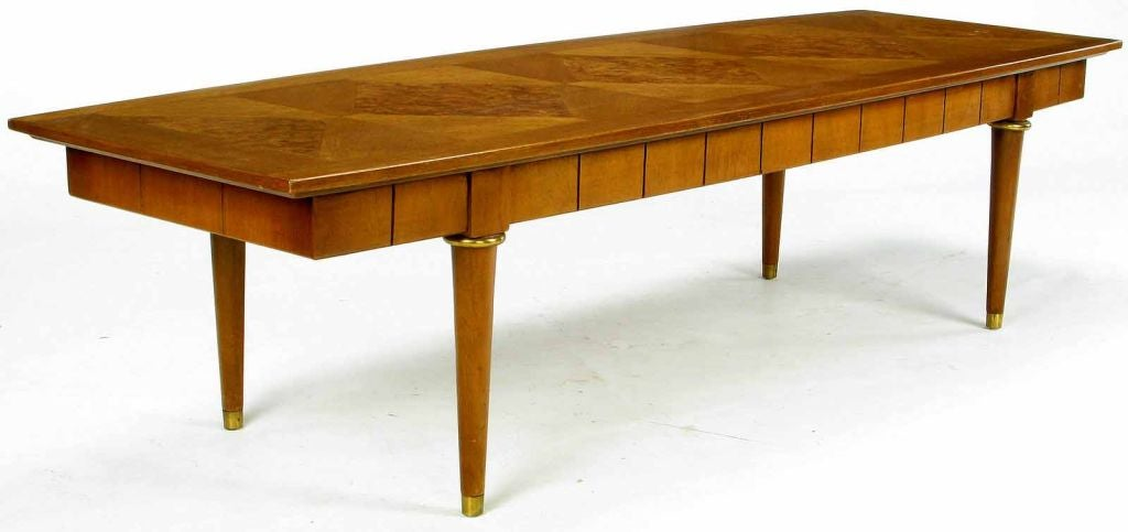 Oxford-Kent Long Walnut Coffee Table With Burled Parquetry Top 4