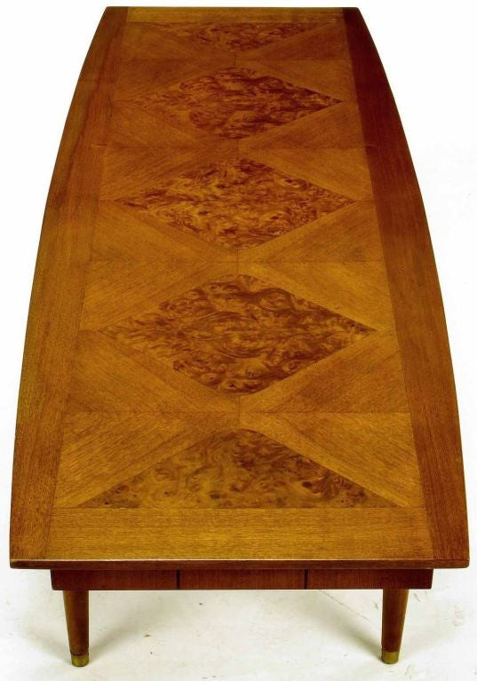 Oxford-Kent Long Walnut Coffee Table With Burled Parquetry Top 5