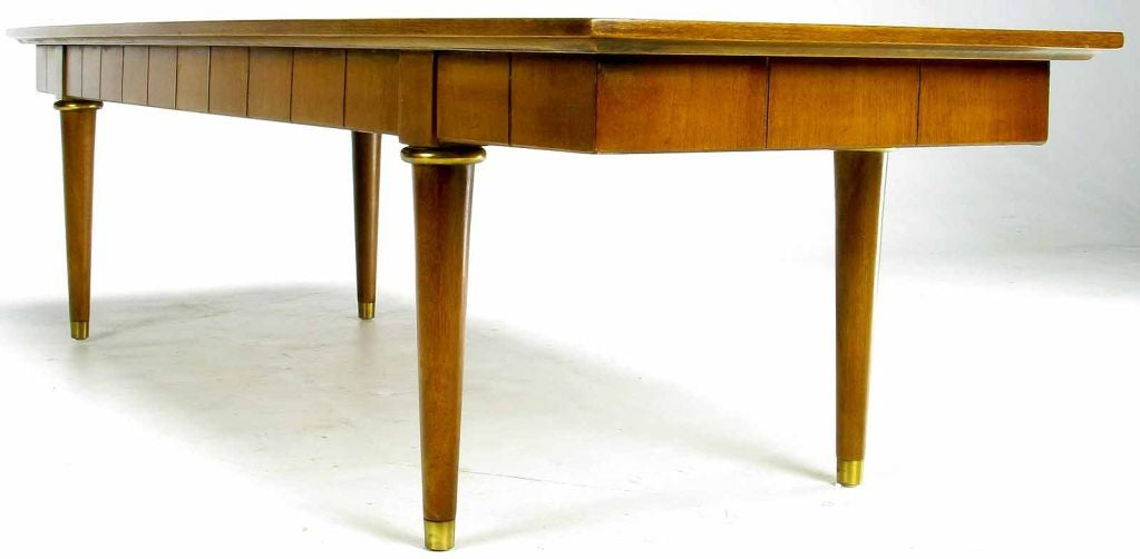 Oxford-Kent Long Walnut Coffee Table With Burled Parquetry Top 7