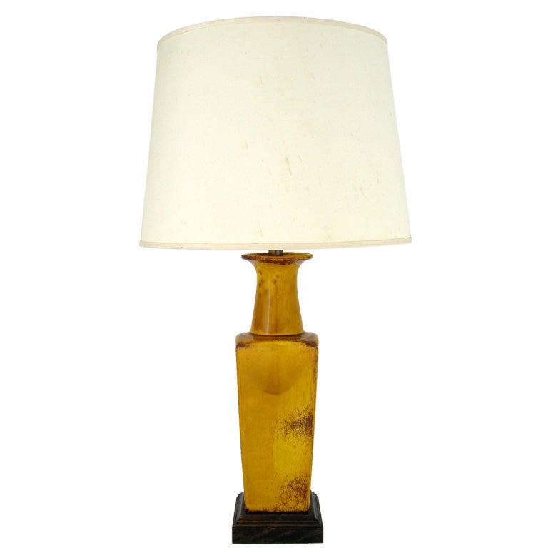 Saffron Glazed Vase Form Table Lamp By Frederick Cooper