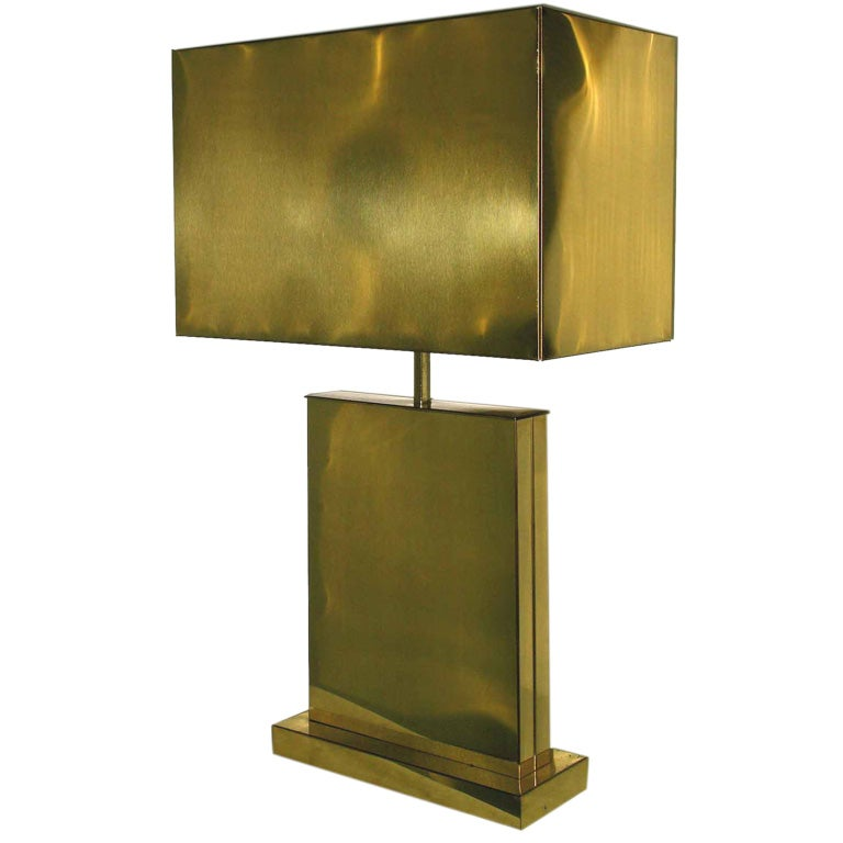 Signed C Jere Architectural Brass Table Lamp With Brass Shade at