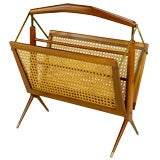 Gio Ponti Style Walnut and Cane Folding Magazine Stand