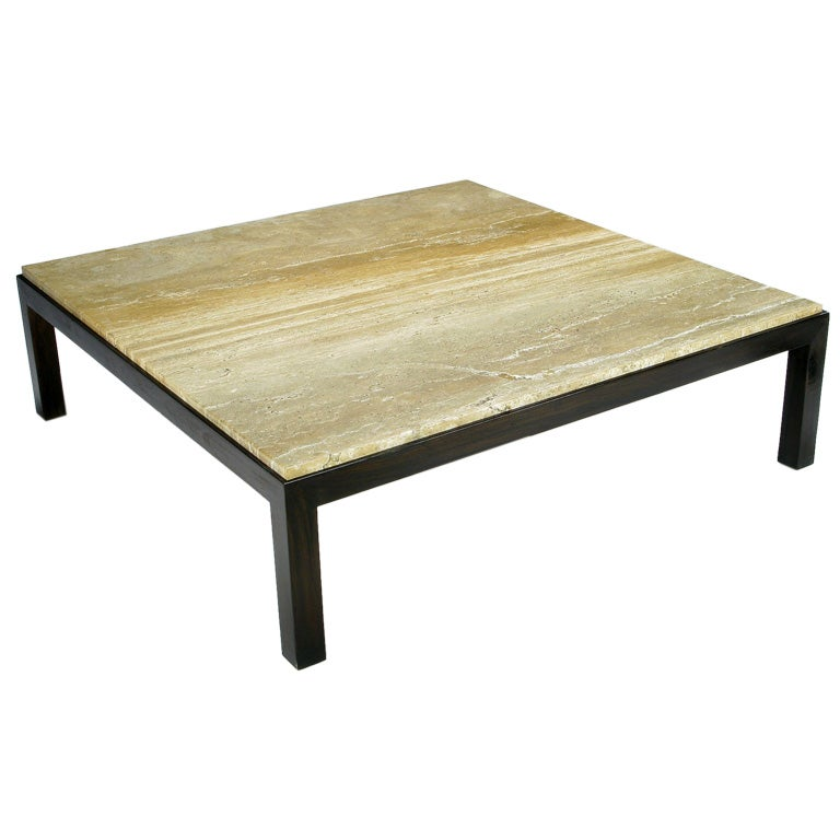 Edward Wormley Large Travertine And Walnut Coffee Table For Dunbar At 1stdibs