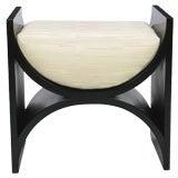 Vintage Interior Crafts Black Lacquer Modern Curule Form Bench