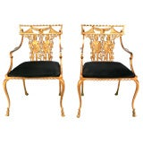 Cast Metal Arm Chairs In Copper Lacquer With Centurion Relief