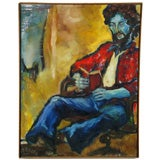 Large & Colorful Expressionist Portrait Signed An Hua Hsiung