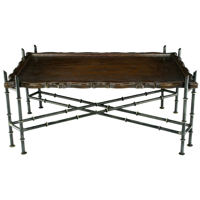 Oriental Oval Coffee Table: Chinese Chippendale Coffee Table With Stylized Bamboo Iron