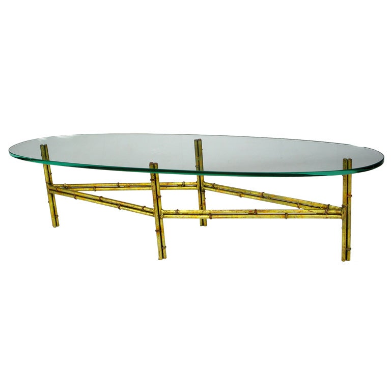 Gilt Metal Bamboo Coffee Table With Elliptical Glass Top At 1stdibs