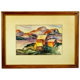 Vibrant Water Color Of A Mountain Homestead Signed Brockway.