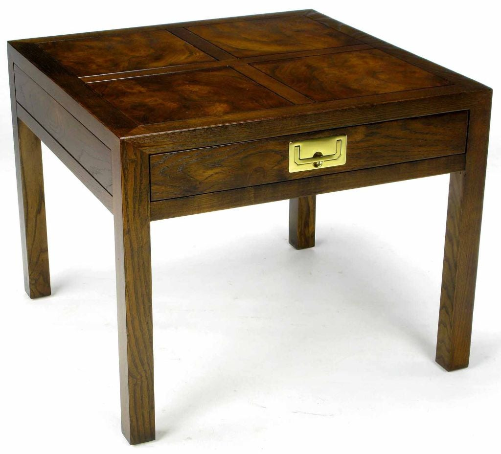 High Quality Henredon Parquetry Top Burl Walnut Campaign End Table 2