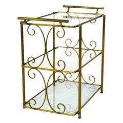 Scrolled Brass Three-Tiered Glass End Table