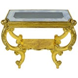 1940s Gilt Rococo Console Table With Illuminated Glass Top