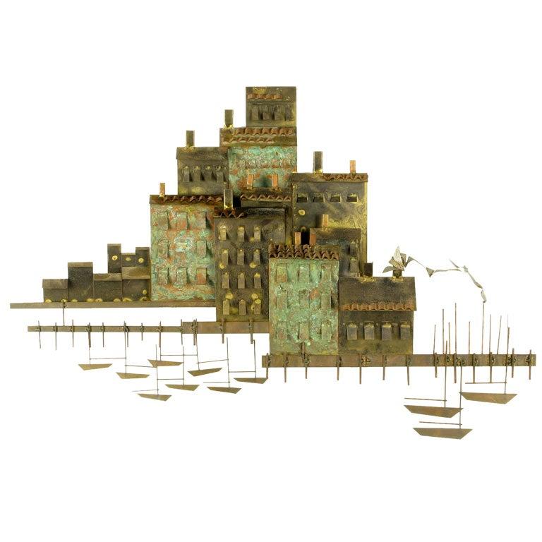 C. Jere Patinated Brass Mediterranean  Village Scene 1