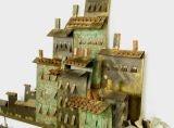 C. Jere Patinated Brass Mediterranean  Village Scene image 5