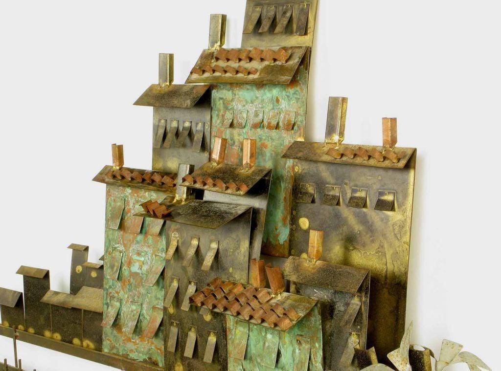 C. Jere Patinated Brass Mediterranean  Village Scene 5