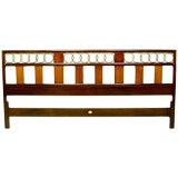 Michael Taylor Mahogany & Brass Circle King Headboard