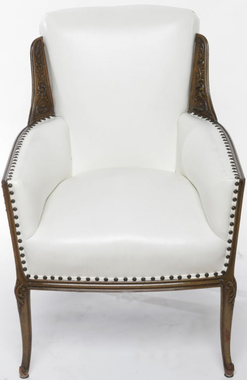 Pair 1930s Wood And Upholstered Arm Chairs At 1stdibs