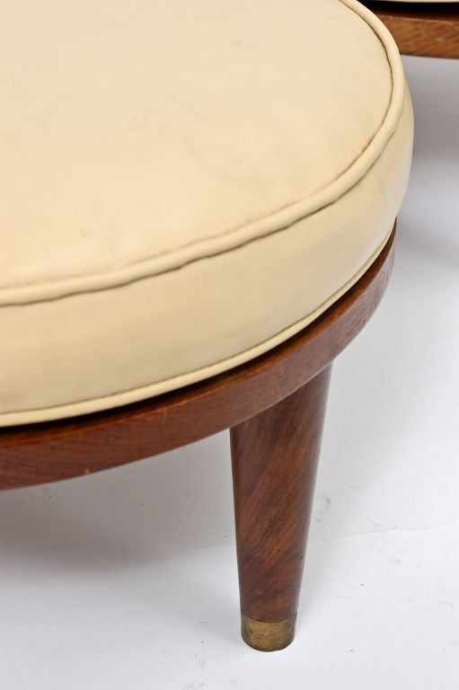 Set Four Round Walnut And Leather Stacking Stools At 1stdibs