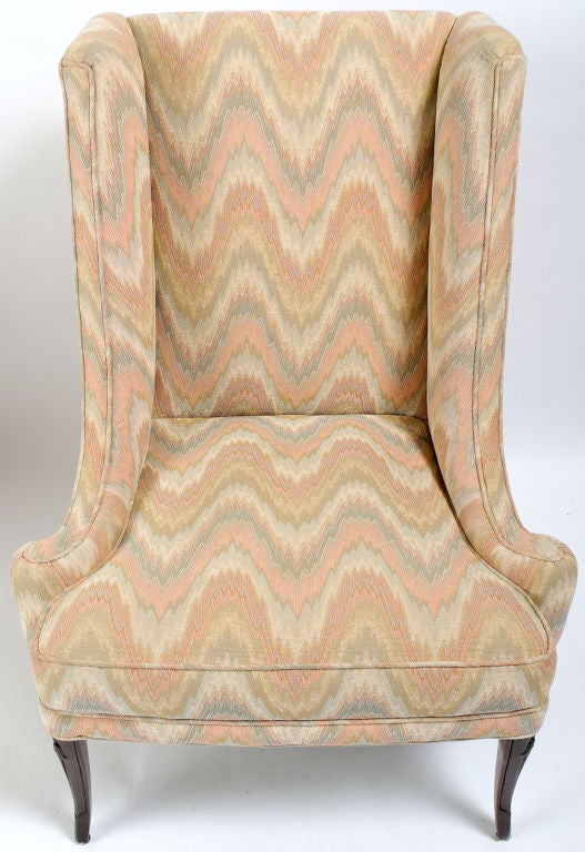 Pair Of 1940s Low Arm Wing Chairs With Flamestitch