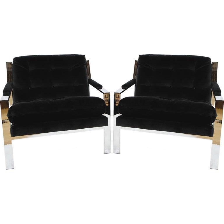 Pair Milo Baughman Chrome U0026 Black Velvet Club Chairs 1