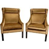 Pair Borge Mogensen Wing Chairs In Cocoa Silk Velvet