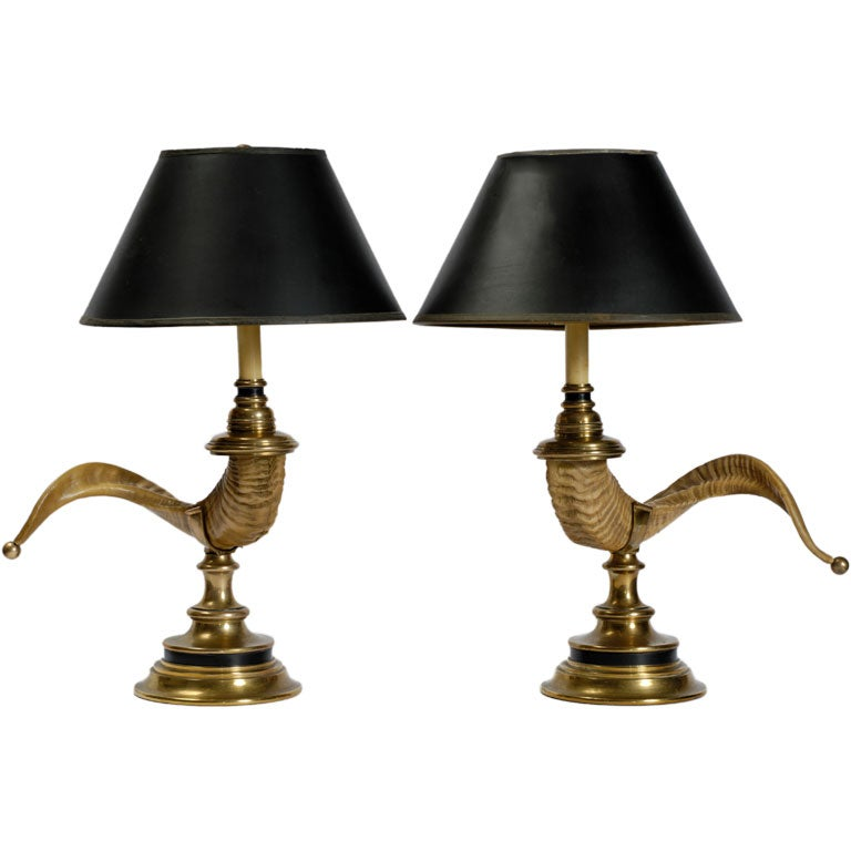 Delightful Pair Chapman Ramu0027s Horn U0026 Bronze Table Lamps 1