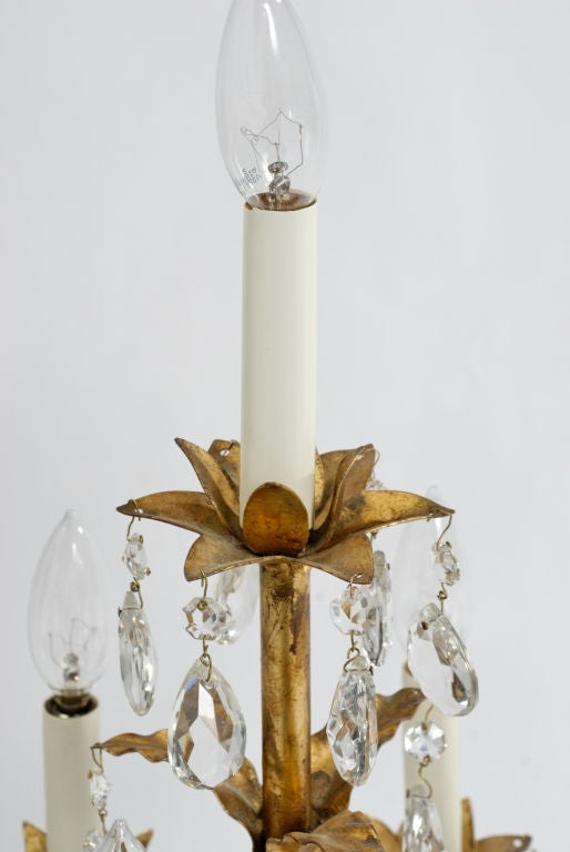 Large Italian Gilt Tole And Crystal Candelabra Lamp At 1stdibs
