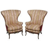 Pair English Style Wing Back Chairs