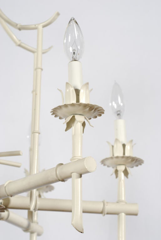 White Tole Metal Pagoda Chandelier at 1stdibs